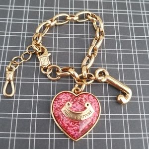 Precious Juicy Couture Gold & Pink Heart Bracelet